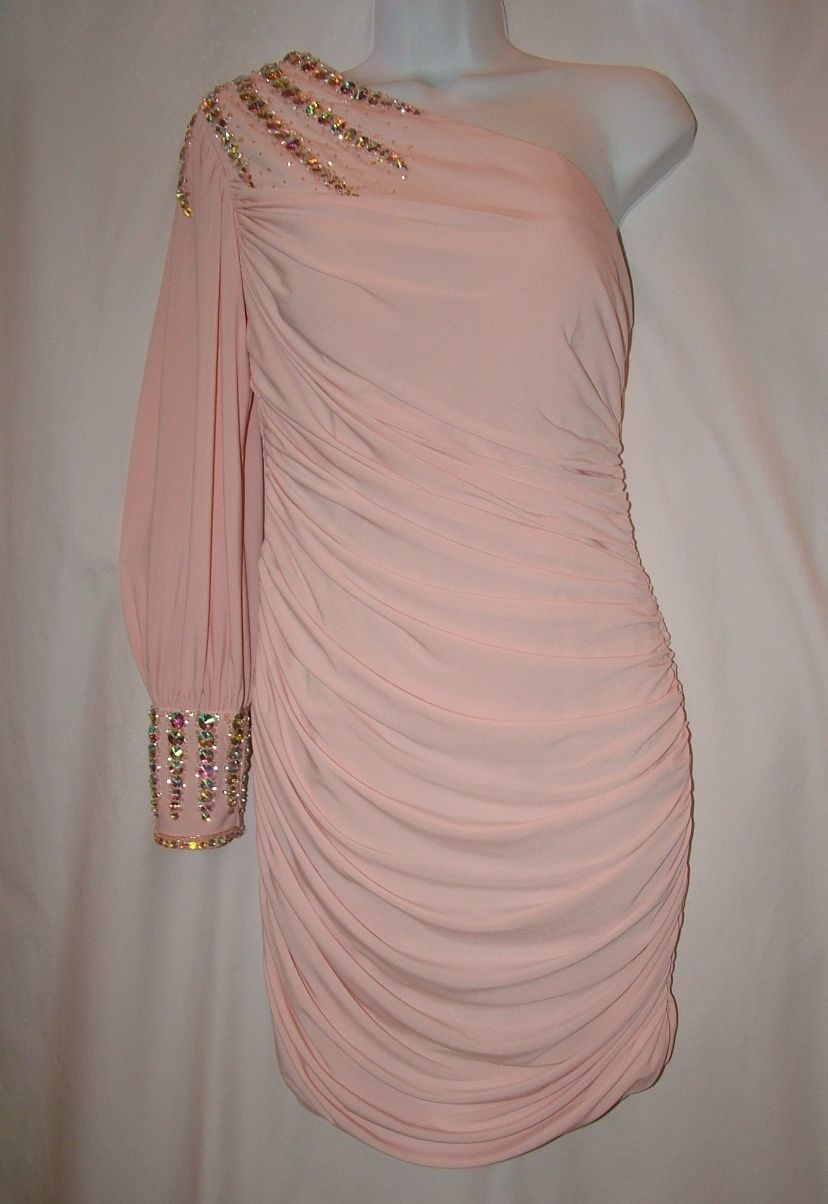 Image 4 of Chic Sexy Vienna Prom Short Powder Pink One Shoulder Beaded Party Dress ZH201 -
