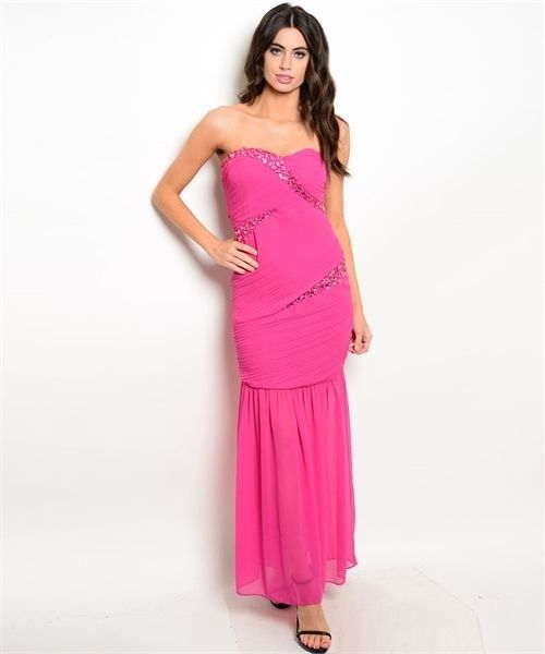 Image 0 of Strapless Sexy Jrs Mermaid Party Evening Full Length Dress, Fuchsia - Pink