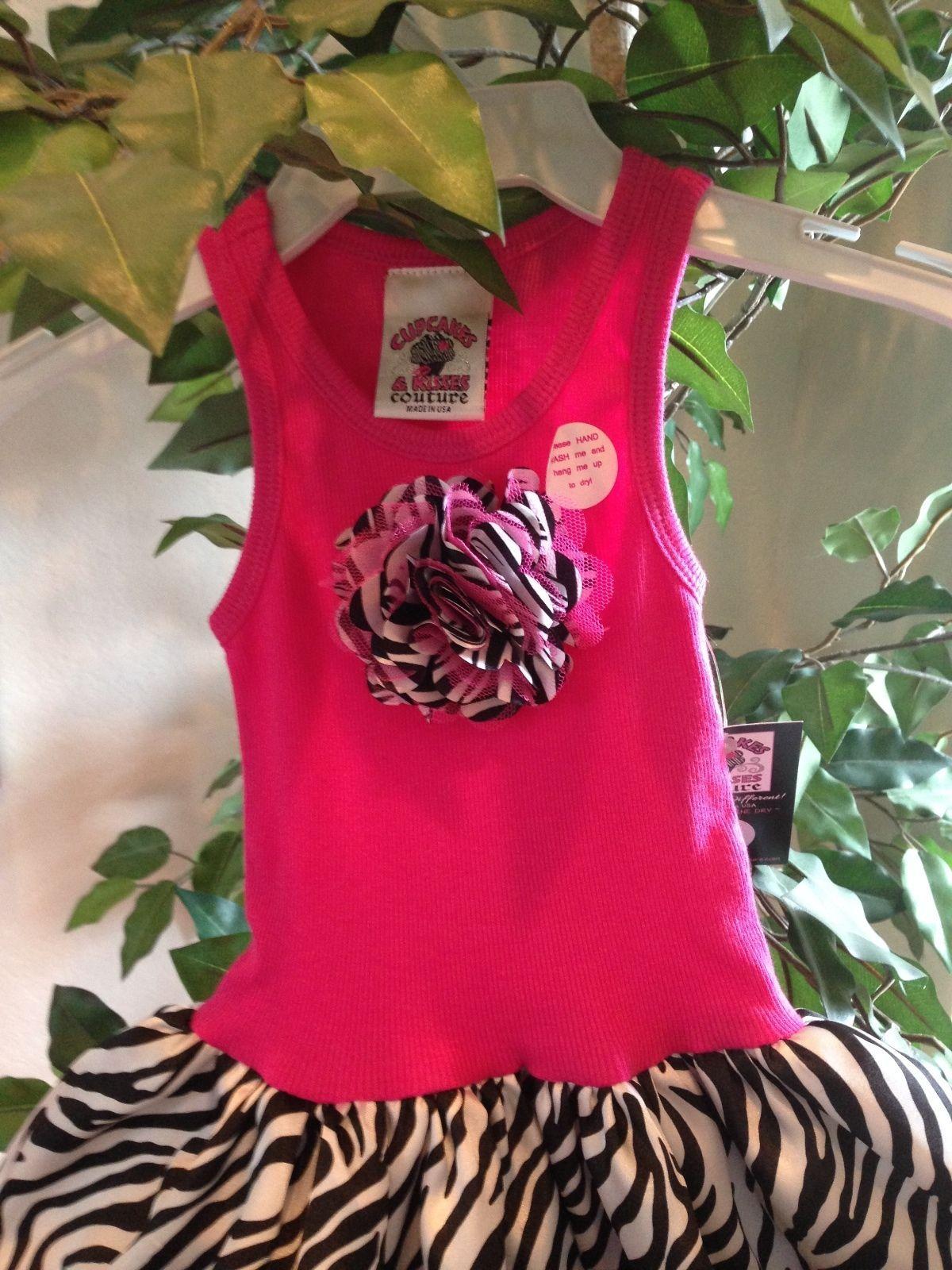 Image 6 of Fun Hot Pink Zebra Chiffon Sleeveless Tutu Dress, 6M-5/6 USA, Cupcakes & Kisses