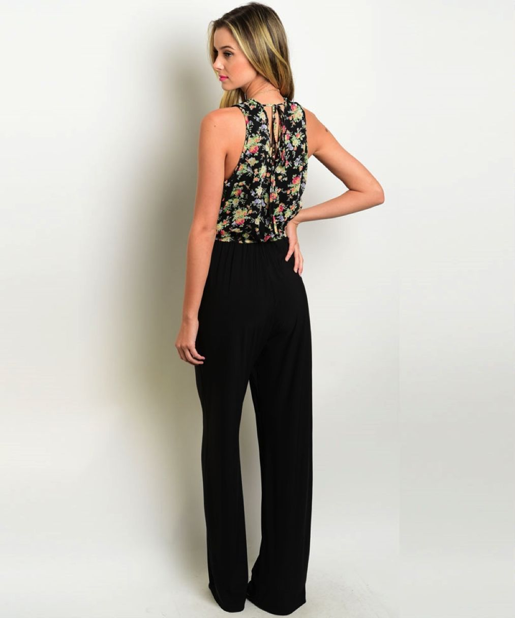 Image 1 of Sexy Black Pants, Floral Top Jrs Party Jumpsuit Romper, Polyester S, M, L - Blac
