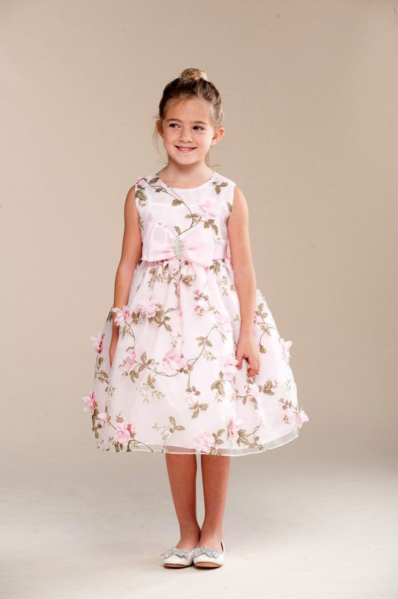 Posh Sweet Pink Floral Embroidered Flower Girl Party Dress, Crayon Kids USA - 4T