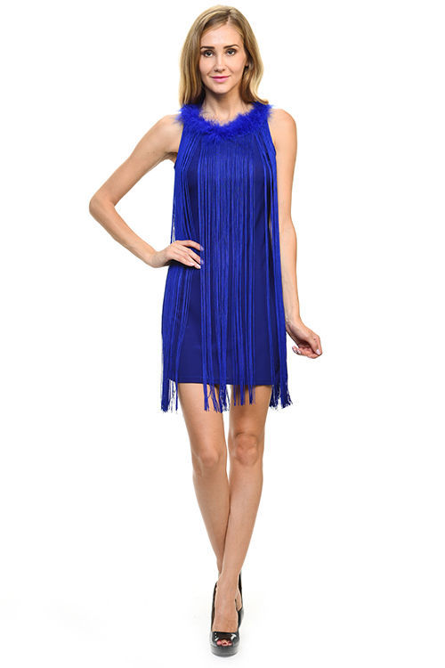 Image 1 of Sexy Jrs Fringe Royal Blue or Red Lined Party Mini Dress Faux Fur Collar S, M, L