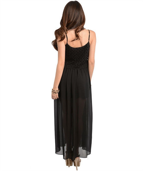 Image 5 of Sexy Long Chiffon Party Cocktail Club Cruise Dress, Black or Burgundy Red - Blac