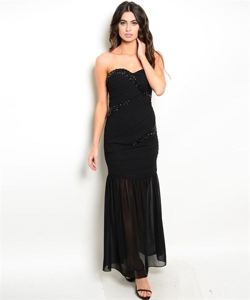 Image 0 of Strapless Sexy Jrs Mermaid Party Evening Full Length Dress, Black