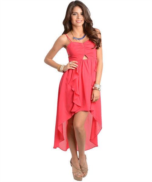 Image 1 of Sexy Hi-Lo Party Ruffled Maxi Cocktail Club Cruise Dress, Fuchsia or Black - Pin