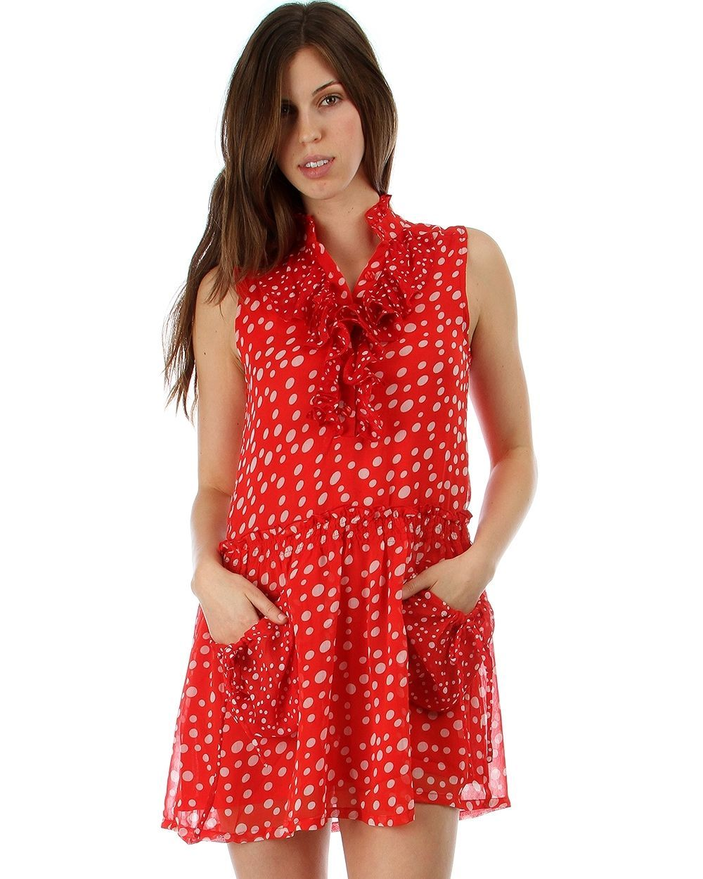 Image 3 of Sweet Flirty Red Chiffon Polka Dot Sleeveless Anytime Mini Dress w/ Pockets - Re