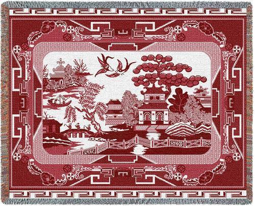 70x54 WILLOW RED China Asian Tapestry Throw Blanket