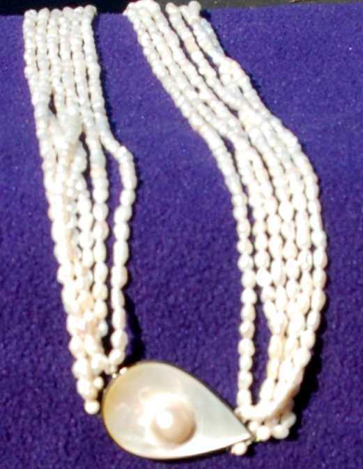 multistrand freshwater pearl MOP necklace