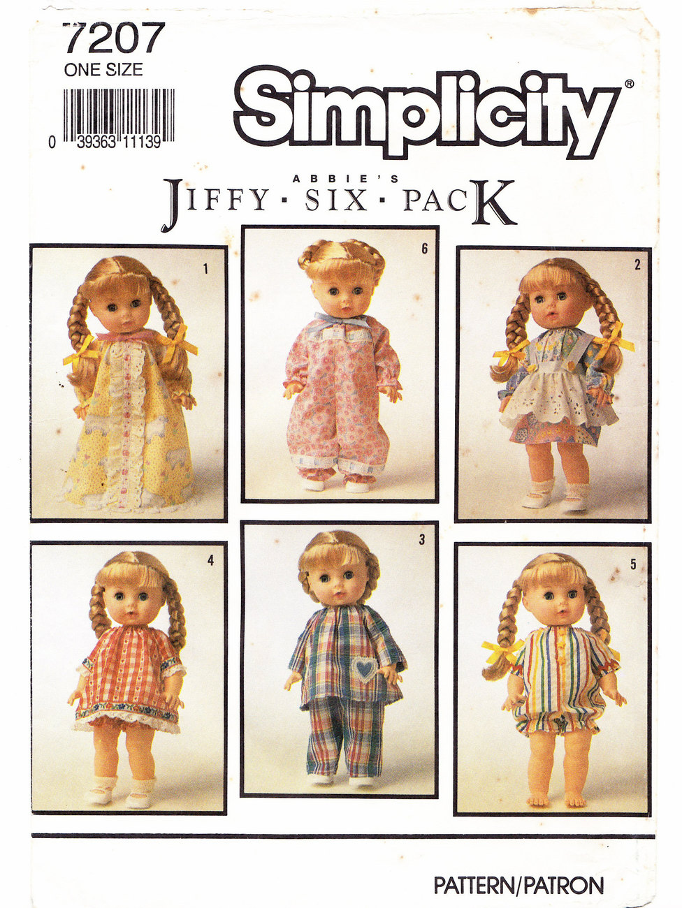"DOLL MAKING CLOTHES PATTERN SIMPLICITY 7207 DOLLS 13"" TO 15"""