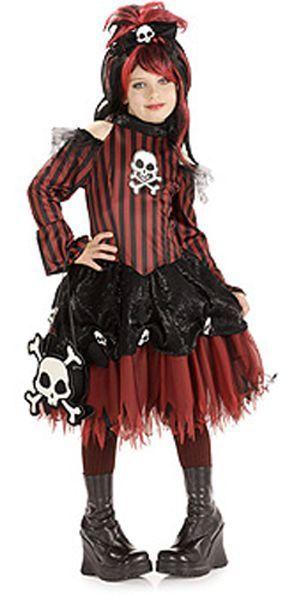 Image 0 of Rockin' Skulls Punky Pirate Red & Black Stripes Girls Costume by Rubies - Red -