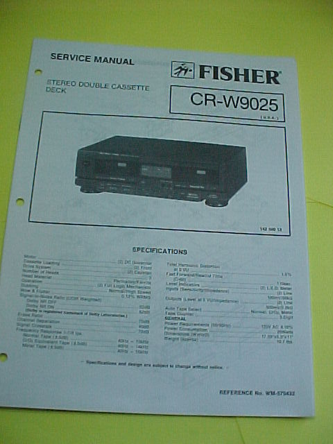 1990 FISHER CR-W9025 CASSETTE CR W9025 SERVICE MANUAL