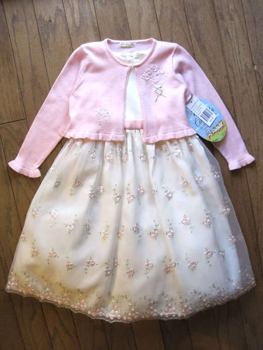 Girls Off White Party Dress Size 2T Wedding American Princess Pink Cardigan NWT