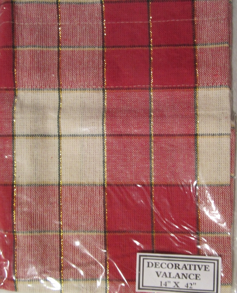 cottage red off white gold plaid check tailored valance curtain
