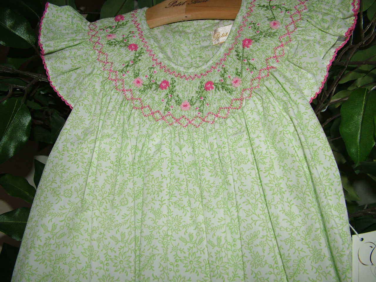 Image 4 of Posh Sweet Beautiful Angel Sleeve Green Floral Petit Ami Gold Girl Smocked Dress