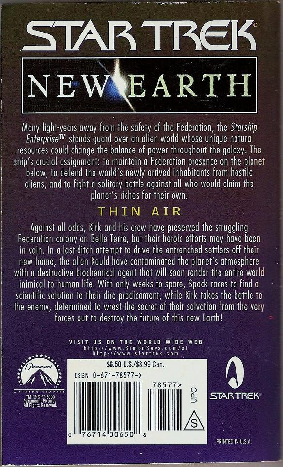 Image 1 of Thin Air Star Trek New Earth Book 5 PB 2000