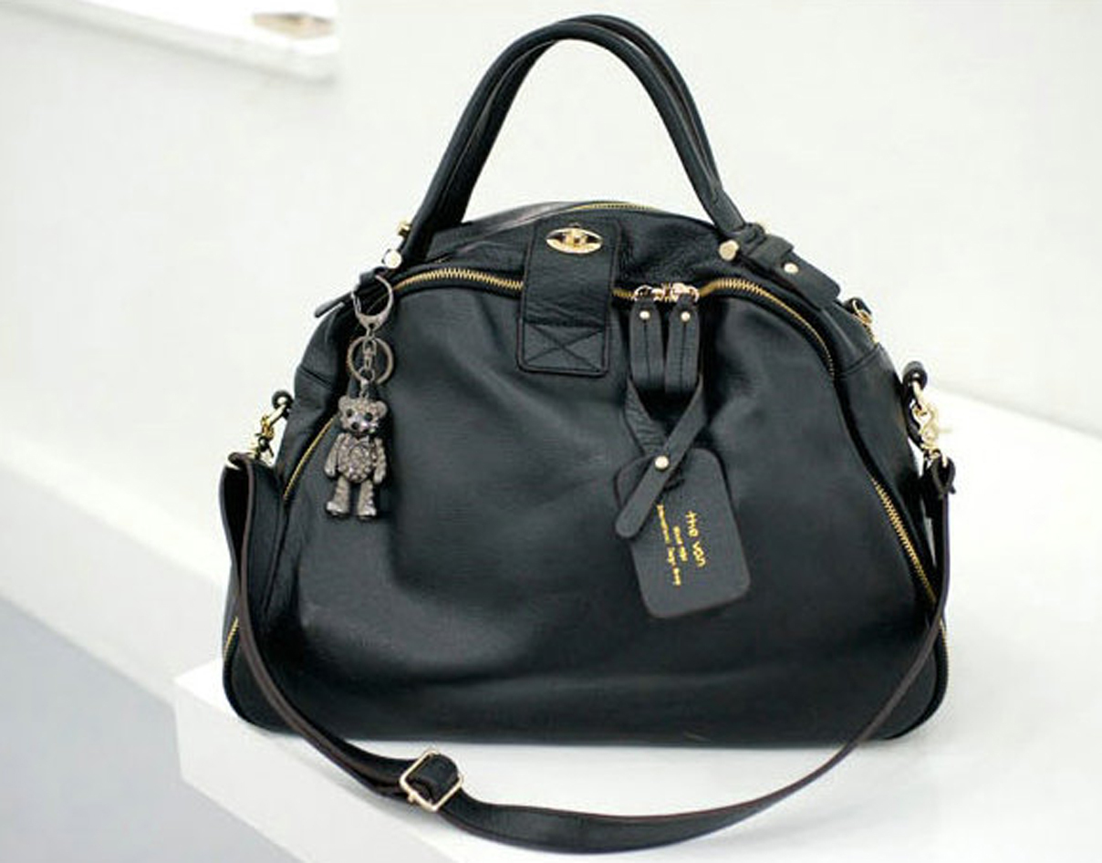 NEW Bigger Size.Casual Chic Black Leather Tote Bag. Genuine Leather Weekend Bag