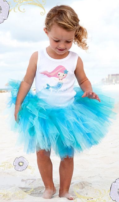 Beautiful Pansy Pie Little Mermaid Tank Top Poofy Ocean Blue Tutu Boutique Set -