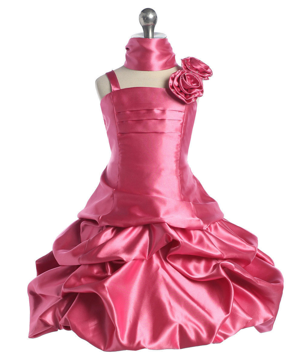 Image 1 of Elegant Girl's Fuchsia or Red Flower Girl Pageant Party Dress w/Pick-ups