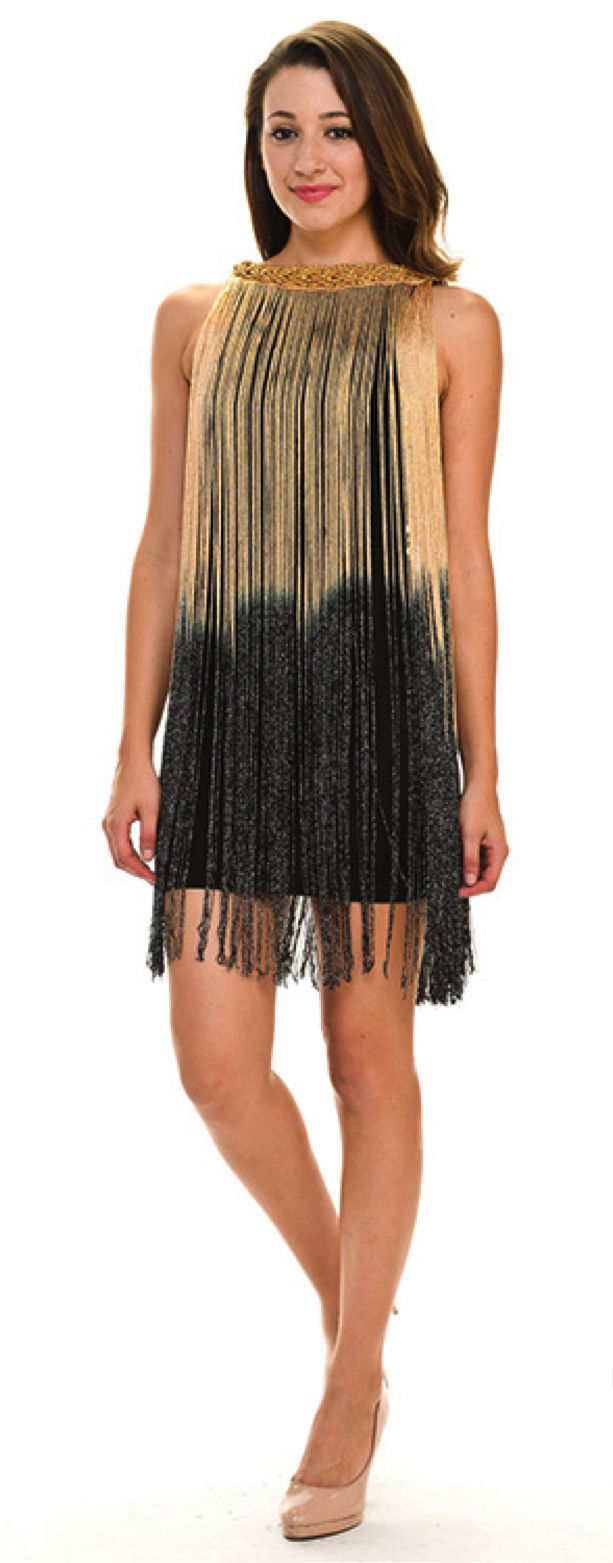 Sexy Jrs Fringe Black, Gold/Black, Red/Black Lined Party Mini Dress S, M, L - Bl