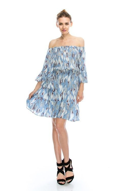 Flirty Off-Shoulder Boho Blue Feather Print Chiffon Party Dress, S, M or L Blue