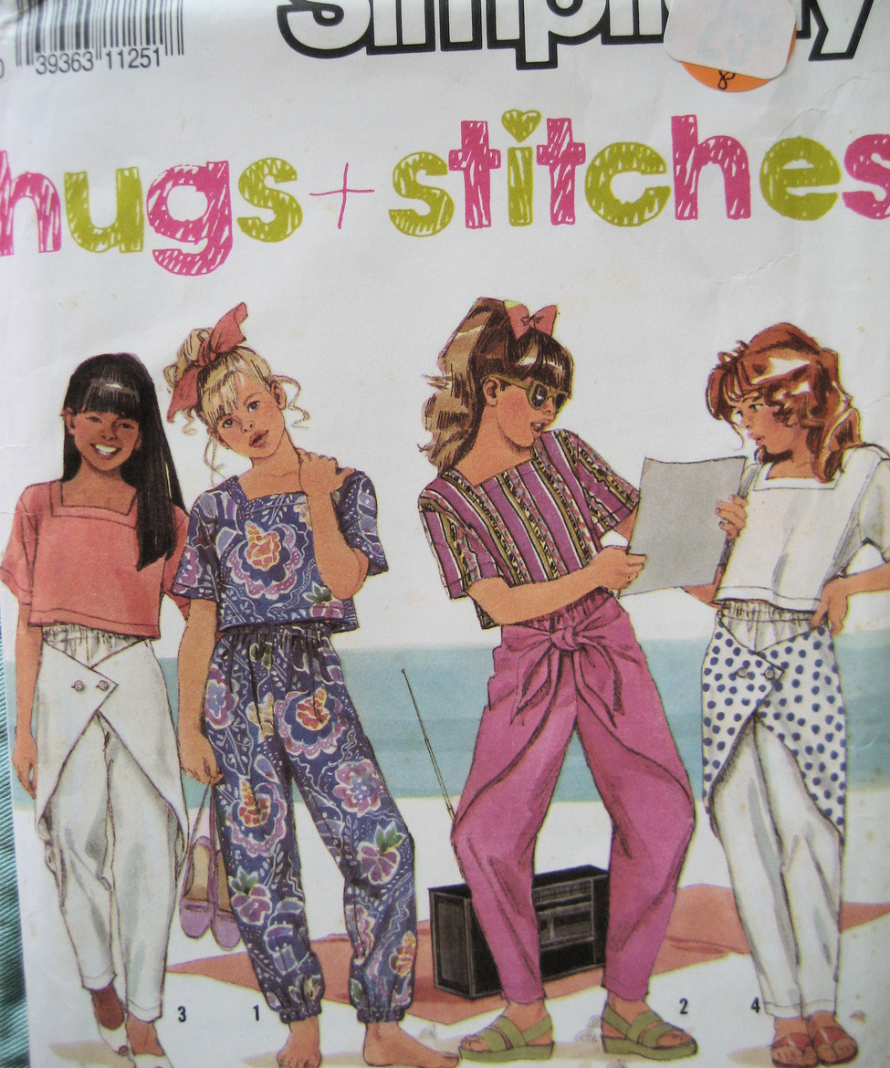 Vintage 90s Pattern Girls Top Pants Size sm med lg S7268 Simplicity New Look