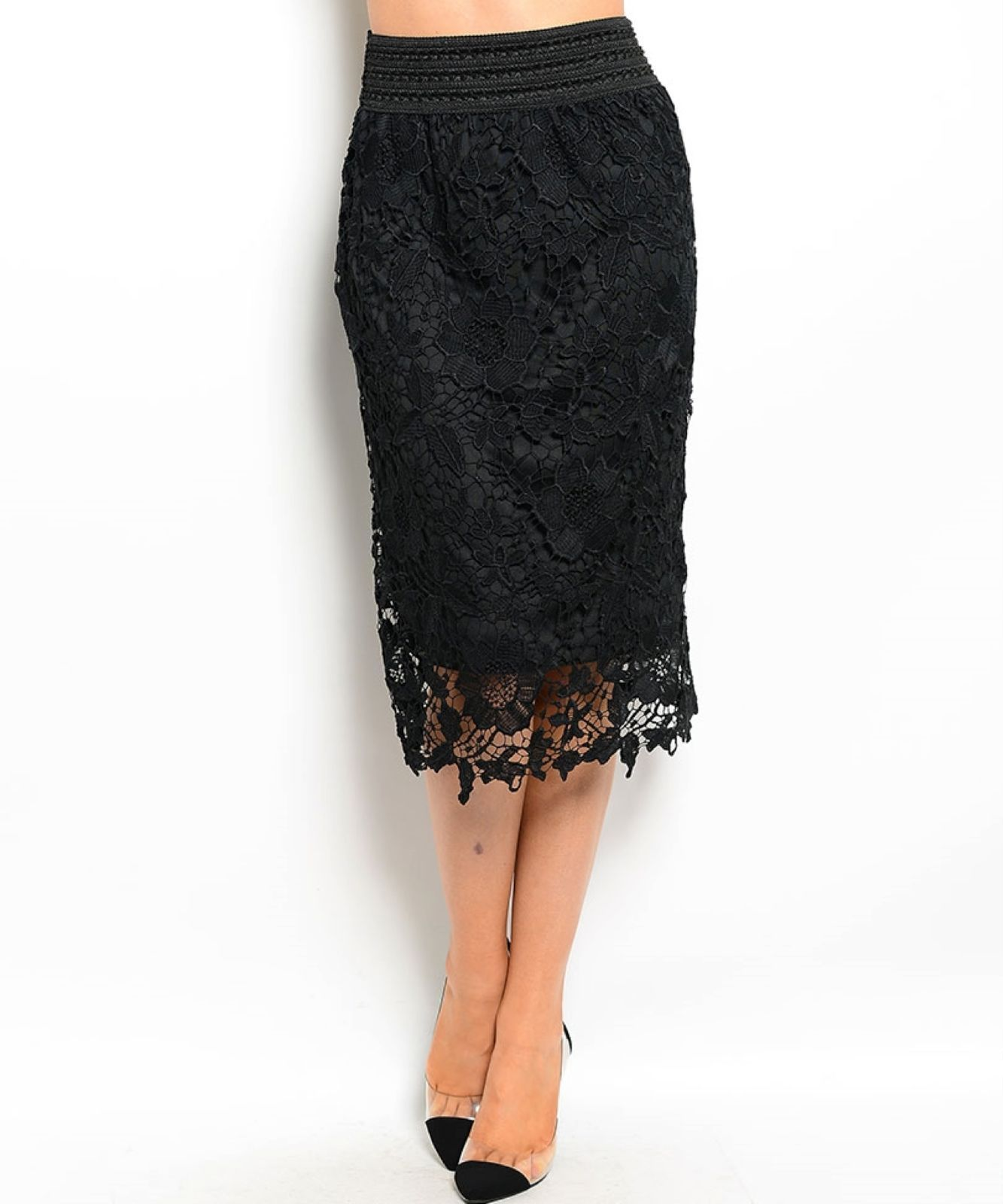 Chic Crochet Lace Lined Jr Skirt, Cocktail Club Party, Black, Ivory or White - B