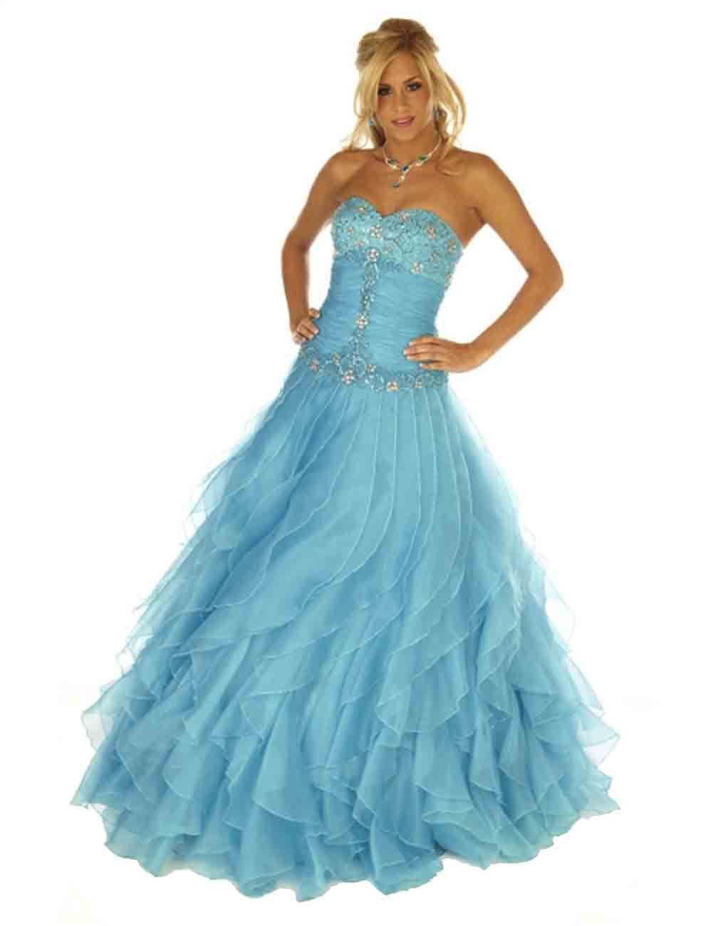Image 0 of Sexy Strapless Corset Aqua Cinderella Mermaid Prom Evening Gown Joli 9538 12