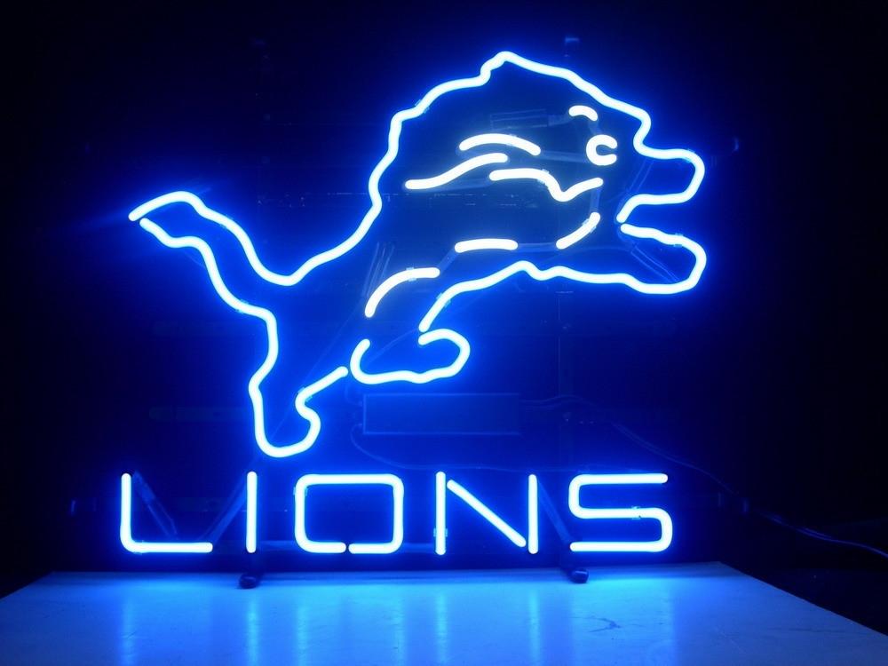 nfl detroit lions football beer bar neon light sign. Black Bedroom Furniture Sets. Home Design Ideas