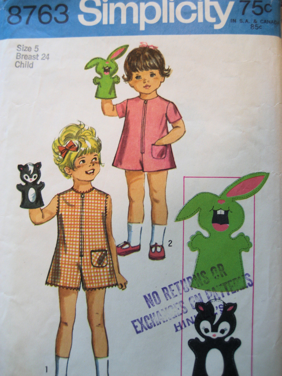Vintage70s Pattern Girls Size5 PantDress Puppets S8763 Simplicity New Look