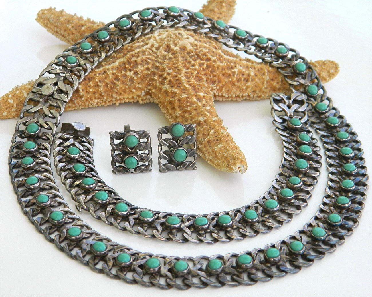 Farfan_mexico_3_piece_sterling_turquoise_necklace_set_parure_1940