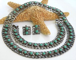 Farfan_mexico_3_piece_sterling_turquoise_necklace_set_parure_1940_thumb200