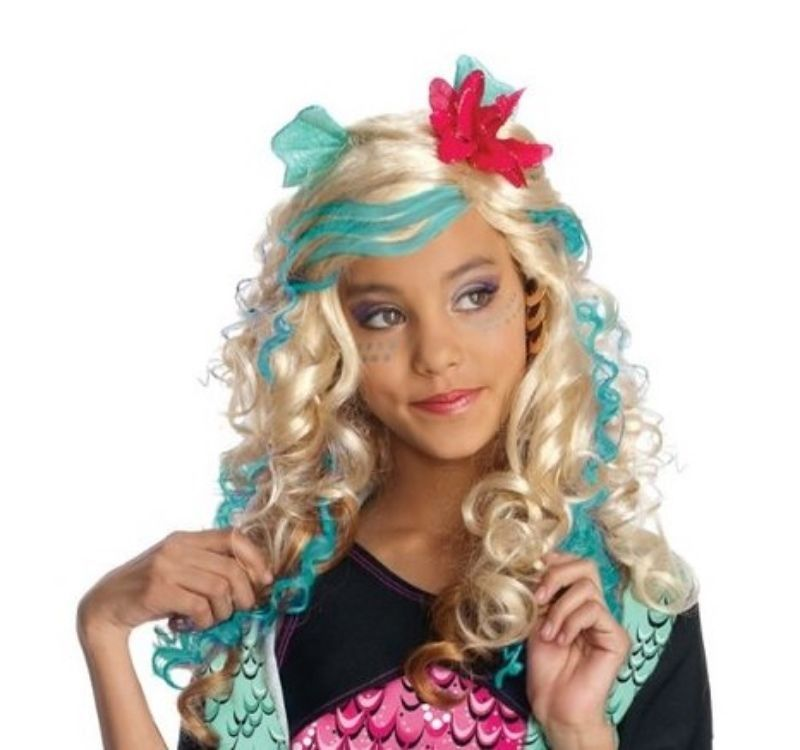 Image 1 of Blonde Fashionista Monster High Lagoona Blue Girl Pink/Aqua Polyester Wig Rubies