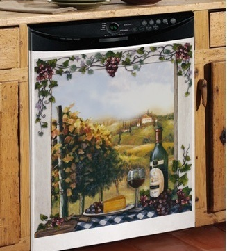 Vineyard Grapes Wine Tuscan Kitchen Decor Dishwasher Magnet Front Cover Magnetic