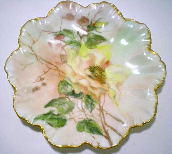 Image 2 of Limoges artist painted signed scallop plate gold trim 1907