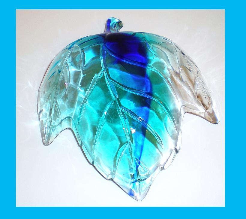 Image 3 of Glass maple leaf candy trinket decorative dish two tone blue teal