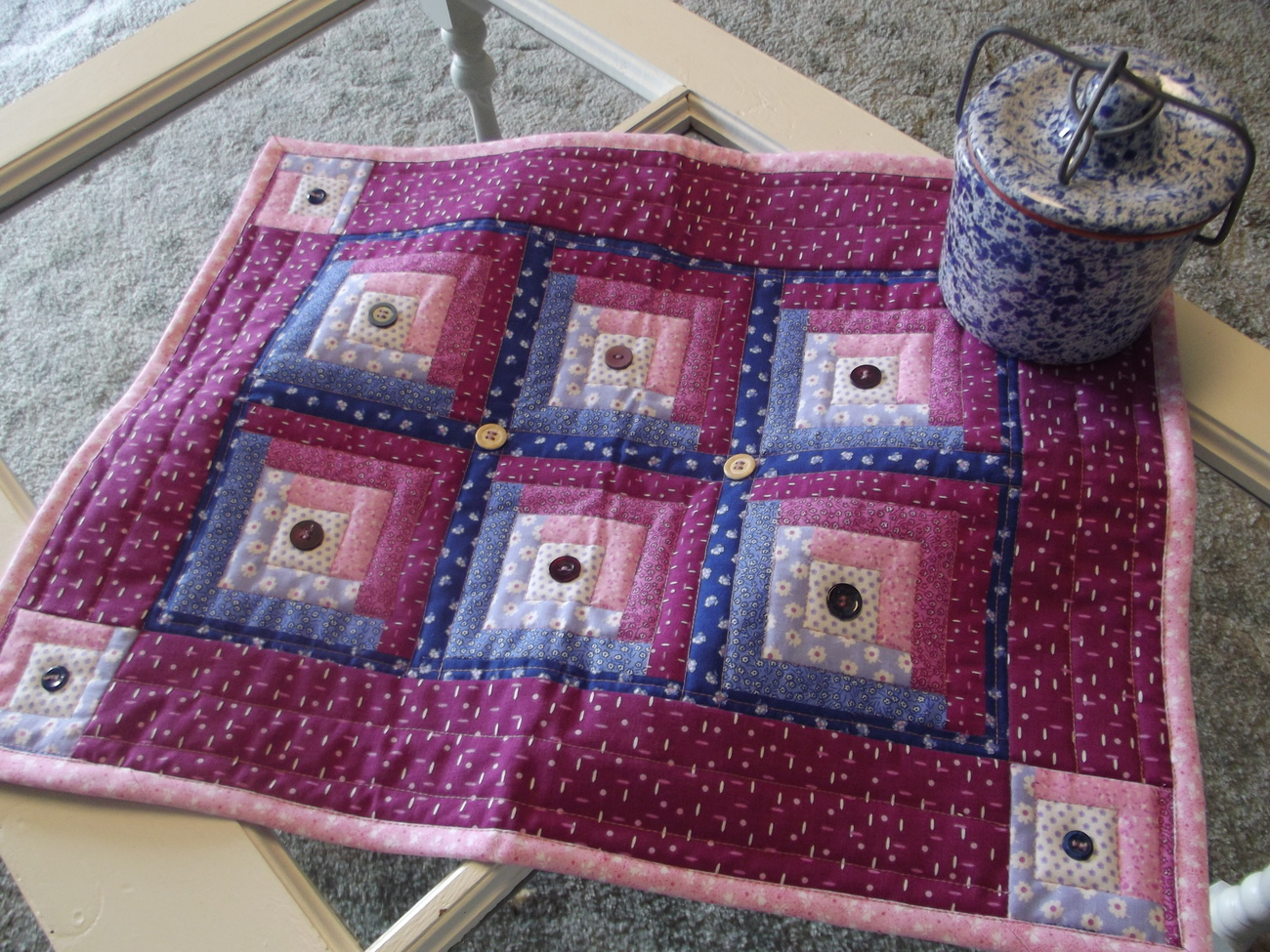 Pink blue quilted tablerunner country rustic handmade home for Home decorating materials