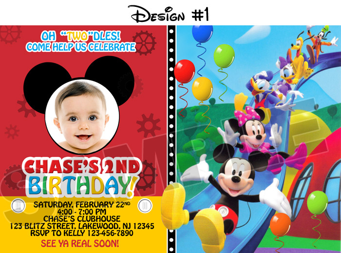 Mickey mouse birthday party ideas bounce house rentals in miami these custom made invitations below are very unique and it sure is one great way to start the fun click image for ordering details from etsy or the one solutioingenieria Choice Image