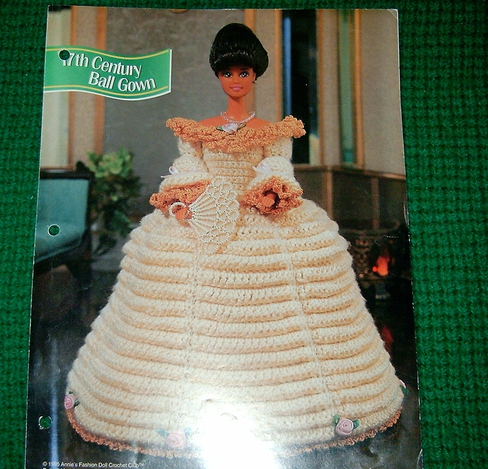 Annies Attic 17th Century Ball Gown Crochet Pattern - Doll Clothing
