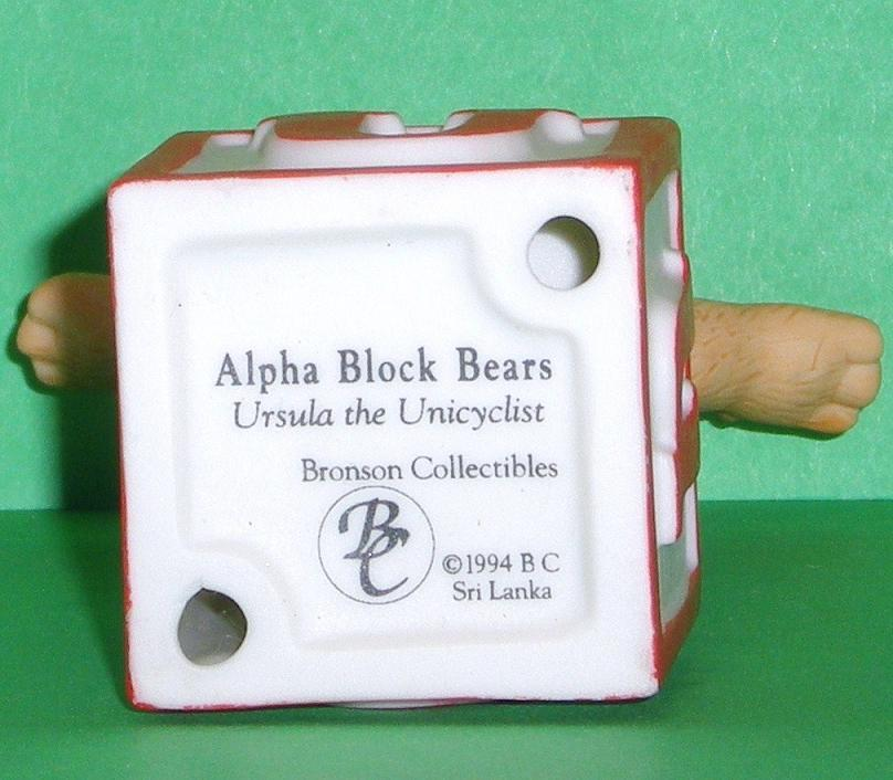Image 4 of Alpha Block Bears Bronson Collectibles block U 1994