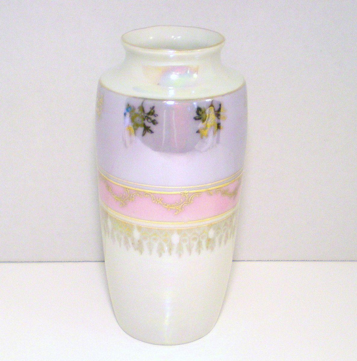 Image 1 of Porcelain ceramic vase Germany blue pink gold trim high glaze