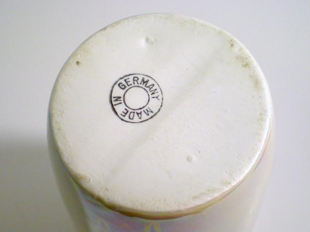 Image 2 of Porcelain ceramic vase Germany blue pink gold trim high glaze