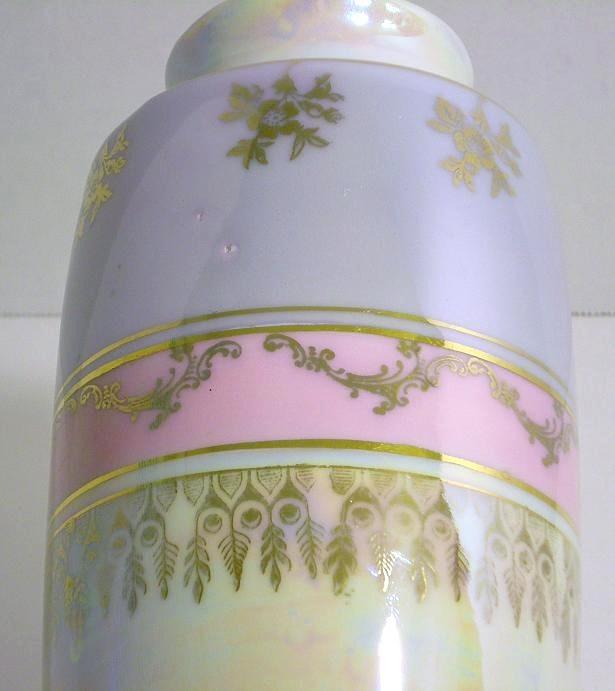 Image 4 of Porcelain ceramic vase Germany blue pink gold trim high glaze