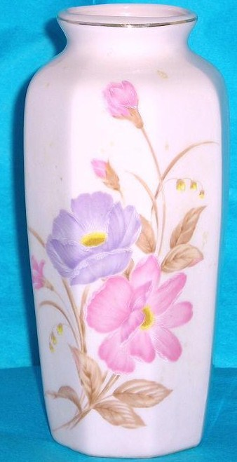 Pink floral ceramic vase Japan purple pink peonies 6 inches