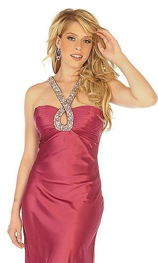 Image 0 of Sophisticated Sexy Embellished Halter Berry Prom Evening Gown Dress Joli 9584 -