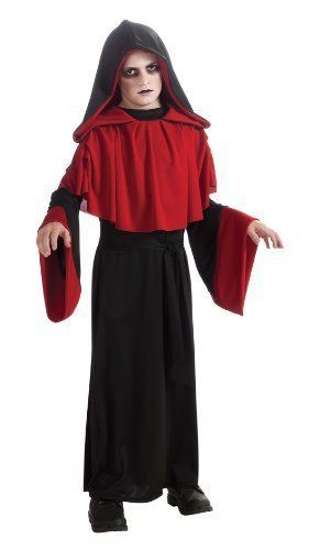 Deluxe Gothic Overlord Boys Red Black Robe Costume, Rubies 881449 - Black - Poly