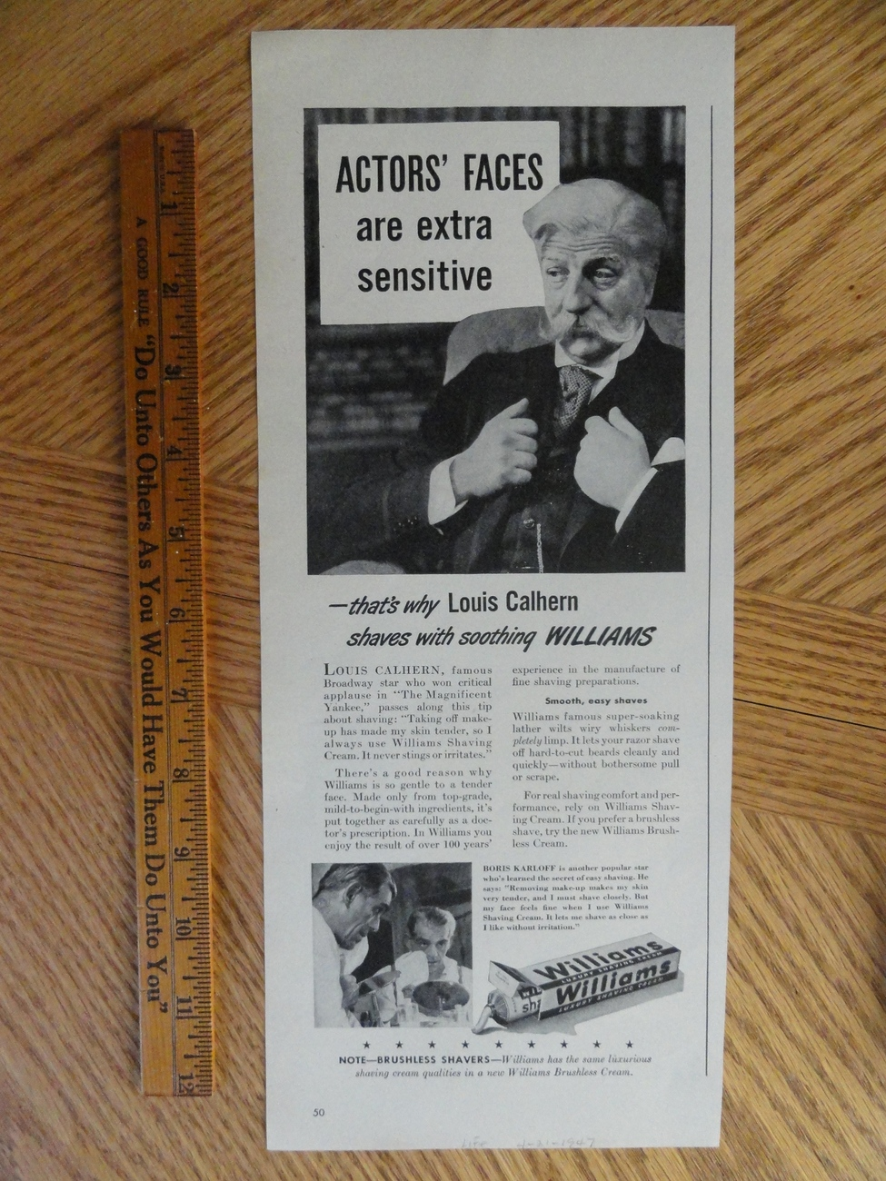 Williams Luxury Shaving Cream (Boris Karloff)1947 magazine p Bonanza