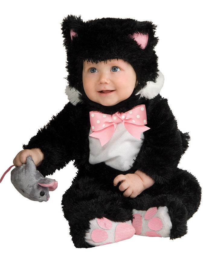 Image 1 of Adorable Plush Inky Black Cat or Purple 885706 Infant Costume Rubies 6-18M