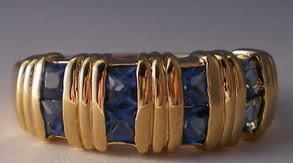 24k Gold Gep Blue Cubic Zirconia Ring Size 13 Bonanza