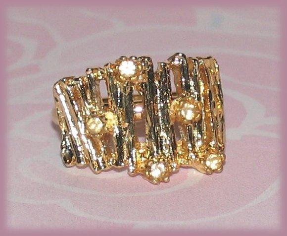 Vintage Ring Bamboo-look Fashion Costume Gold Tone Size 7 US Bonanza
