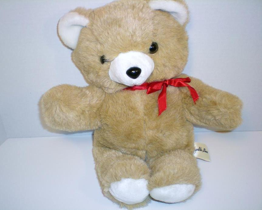 Huggable Bear light tan plush 16 inches 1990